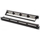 "Patch panel UTP 19"" kat.6, 24 porty z listwą v2"