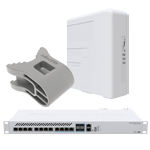 MikroTik PWR-Line PRO PL7510Gi, Cloud Router Switch CRS312-4C+8XG-RM, quickMOUNT-X QM-X