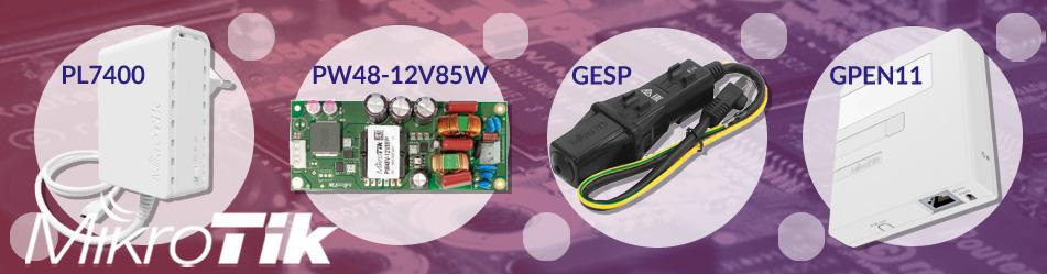 MikroTik PWR-Line PL7400, PW48V-12V85W, Gigabit Ethernet Surge Protector RBGESP, Gigabit PoE Injector GPEN11 :: Wisp.pl